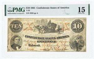 1861 $10 Confederate Note T-23