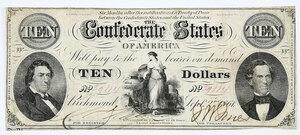 1861 $10 Confederate Note T-25