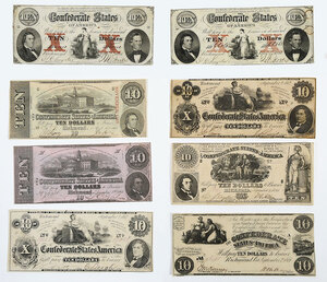 Group of Confederate $10 Notes