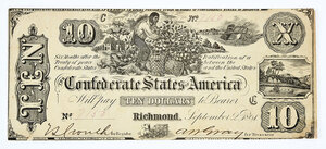 1861 $10 Confederate Note T-29
