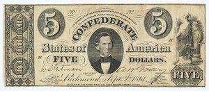 1861 $5 Confederate Note T-34