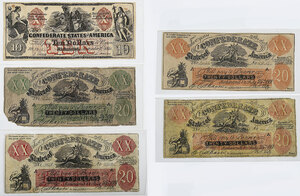 Five Counterfeit Confederate Notes