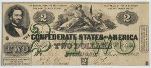 1862 $2 Confederate Note T-43