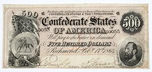 1864 $500 Confederate Note T-64