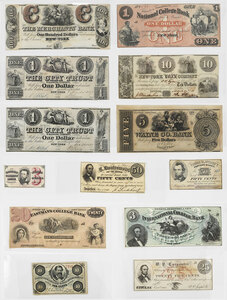 13 New York Obsolete Bank Notes