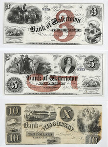 Three Wisconsin Obsolete Bank Notes