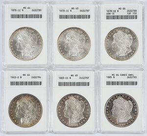 Six Morgan Silver Dollars