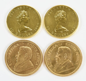 Four Assorted Gold Coins
