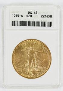 1915-S St. Gaudens $20 Gold Coin