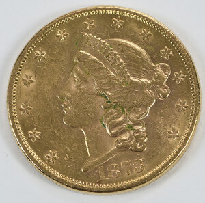 1873-S Liberty Head $20 Gold Coin