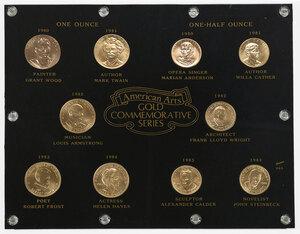 Ten Framed Gold Postal Medallions