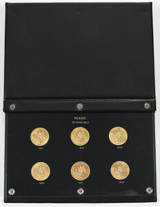 Six Mexican Gold 20 Peso Coins