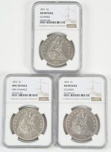 Three Seated Liberty Dollars