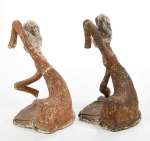 Pair Tang Dynasty Style Polychrome Pottery Dancers