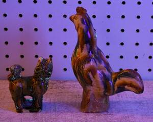 Chinese Sancai Glazed Pottery Cockerel, Foo Dog