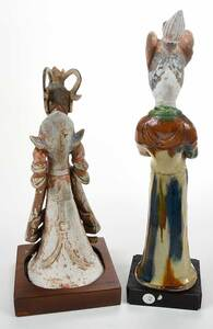 Two Chinese Pottery Figures of Court Ladies