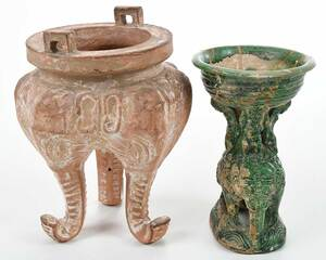 Two Elephant Figural Pottery Incense Burners