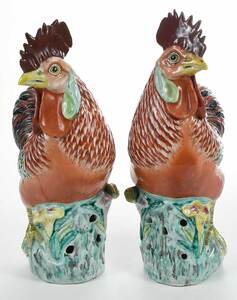 Pair of Chinese Export Porcelain Roosters