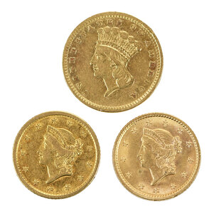 Three $1 Gold Coins