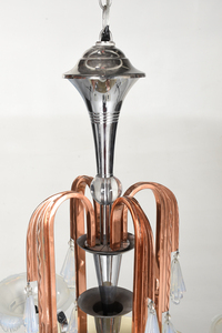 Art Deco Copper And Chrome Chandelier