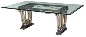 Fine Art Deco Wrought Steel, Glass and Marble Dining Table