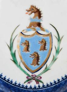 Pair Chinese Export Armorial Entrees and Plates