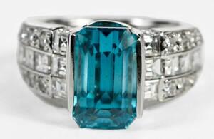 Platinum Blue Zircon Ring