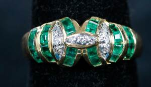 Four Gold Emerald and Diamond Rings