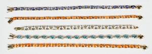 Five 14kt. Gemstone Bracelets