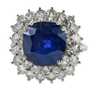 Classic Ceylon Sapphire and Diamond Ring