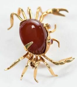 18kt. Gemstone Crab Brooch