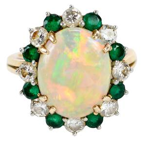 Platinum, 18kt., Opal, Diamond, and Emerald Ring