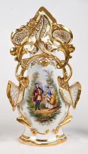 Two Pairs Hand Painted Paris Porcelain Vases