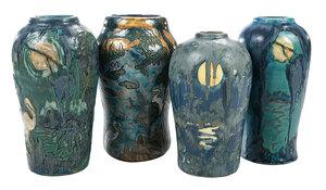 Four M. Cushman Florida Faience Pottery Vases