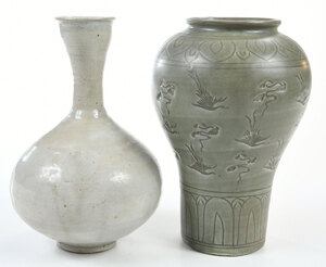 Two Korean Glazed Stoneware Vases