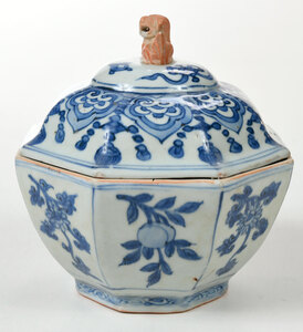 Chinese Blue and White Covered Porcelain Bowl