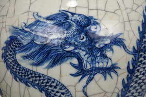 Chinese Blue and White Porcelain Dragon Vase