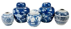 Five Chinese Porcelain Ginger Jars