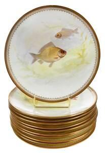 Eleven Royal Doulton Porcelain Fish Plates